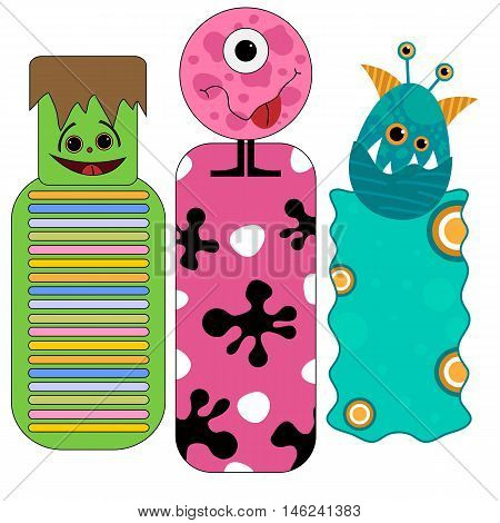 Cute and funny colorful halloween tags or bookmarks with monsters isolated over white background