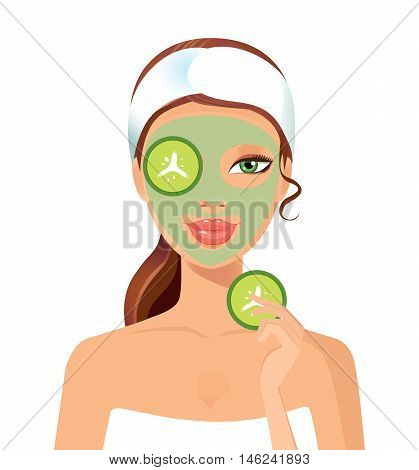 Woman spa with cosmetic face mask. Smiling girl portrait. Clean skin, cosmetics concept, fresh healthy face. Beautiful model. Graphic design element for spa or beauty salon poster isolated on a white background. Vector illustration.