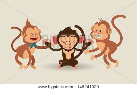 flat design meditating and playful jungle monkeys cartoon vector illustration