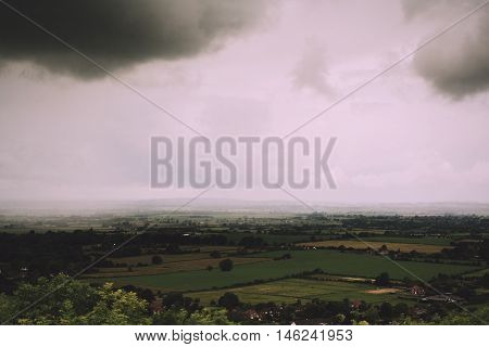 Cloudy View Over The Chilterns In Buckinghamshire Vintage Retro Filter.