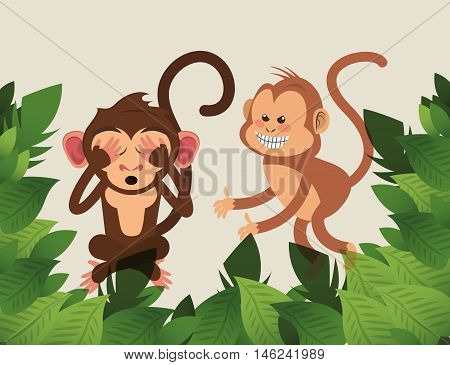 flat design playful jungle monkeys cartoon vector illustration
