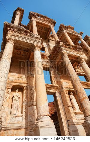 Library of Celsus in Ephesus Turkey. Detail on architecture. Vertical shot