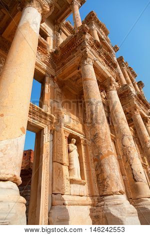 Library of Celsus in Ephesus Turkey. Detail on columns