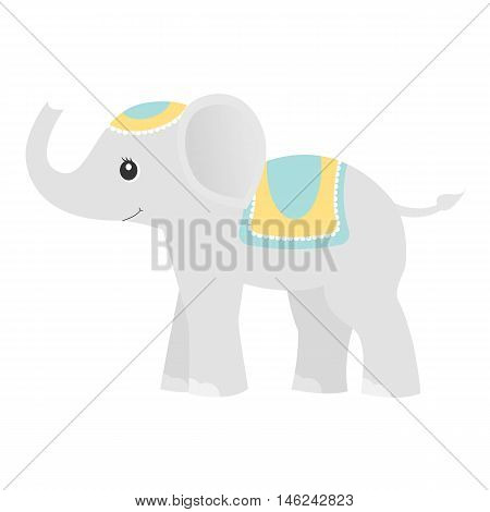 Smiling elephant.Baby toy. Design element for baby shower card, scrapbooking, invitation, children goods and childish accessories. Isolated on white background. Vector illusrtation.