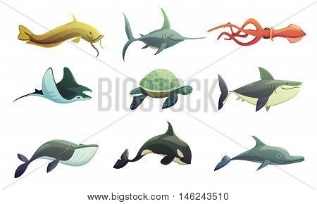 Ocean underwater animals cartoon retro characters set with stingray shark turtle swordfish and squid fish isolated vector illustration