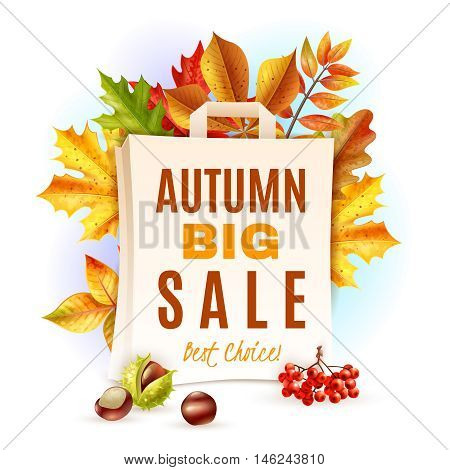 Autumn big sale and colorful fall leaves chestnuts and rowan behind bag flat vector illustration