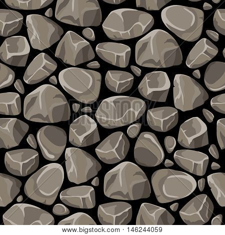 Rock and stone seamless pattern with gray smooth cobbles on black background flat vector illustration