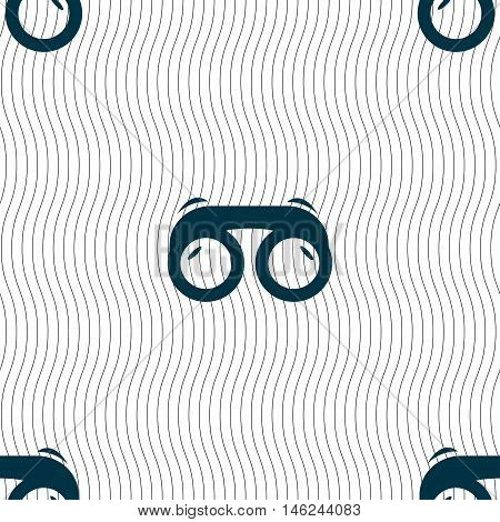 Binoculars Icon Sign. Seamless Pattern With Geometric Texture. Vector