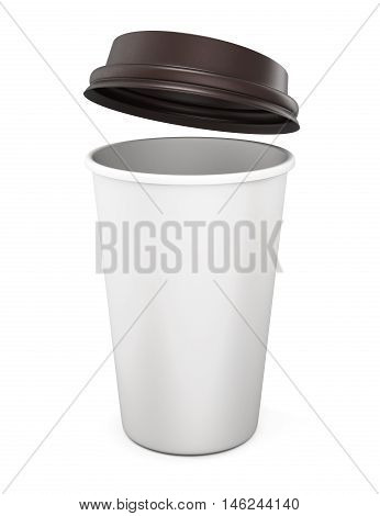 Plastic Cup Of Coffee With An Open Lid On A White Background. 3D Rendering.