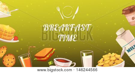 Set of snacks for breakfast on mustard background with drinks toasts flake cakes baked goods flat vector illustration