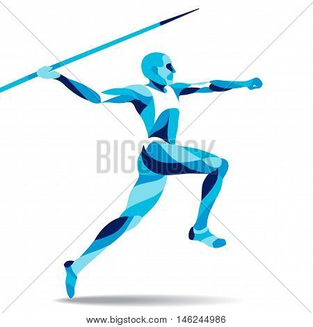 Trendy stylized illustration movement javelin-throwing line vector silhouette of javelin-throwing