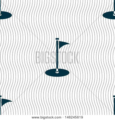 Golf Icon Sign. Seamless Pattern With Geometric Texture. Vector