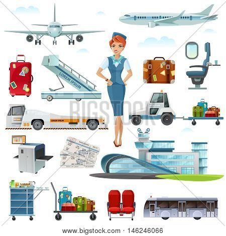 Airport flight attributes and accessories flat icons set with stewardess luggage airline tickets  abstract isolated vector illustrations