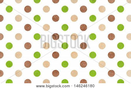 Watercolor Brown, Green And Beige Polka Dot Background.