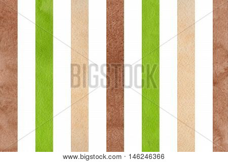 Watercolor Brown, Green And Beige Striped Background.