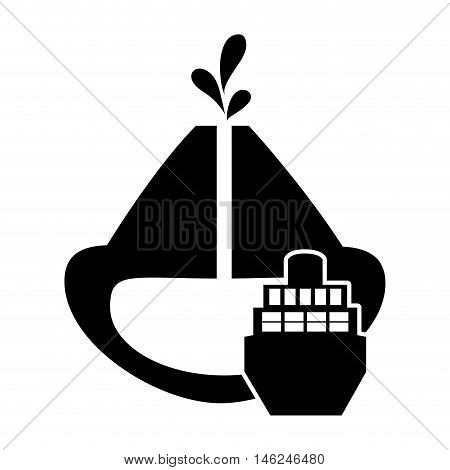 flat design oil reservoir and cargo ship icon vector illustration