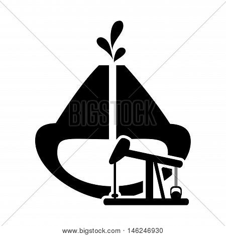 flat design oil reservoir and oil rig icon vector illustration