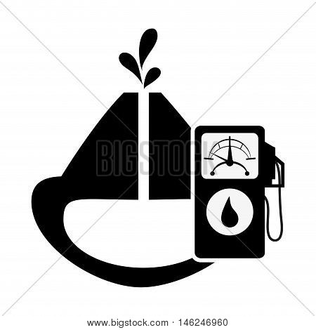 flat design oil reservoir and fuel dispenser icon vector illustration