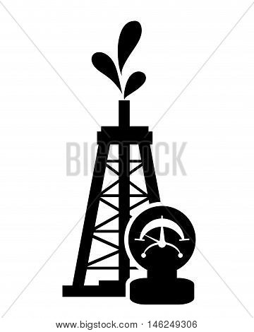 flat design oil rig and manometer icon vector illustration