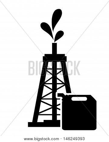 flat design oil rig and fuel canister icon vector illustration