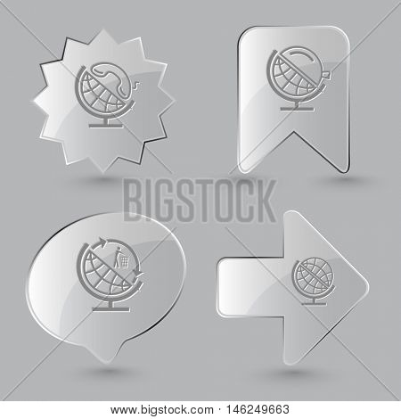 4 images: globe and handset, and loupe, and recycling symbol. School globe set. Glass buttons on gray background. Vector icons.