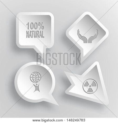 4 images: 100% natural, human hands, little man with globe, radiation symbol. Ecology set. Paper stickers. Vector illustration icons.