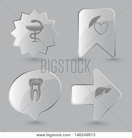 4 images: pharma symbol, protection love, tooth, liver. Medical set. Glass buttons on gray background. Vector icons.