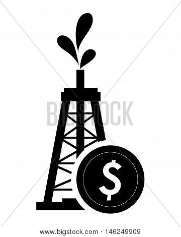flat design oil rig and coin icon vector illustration