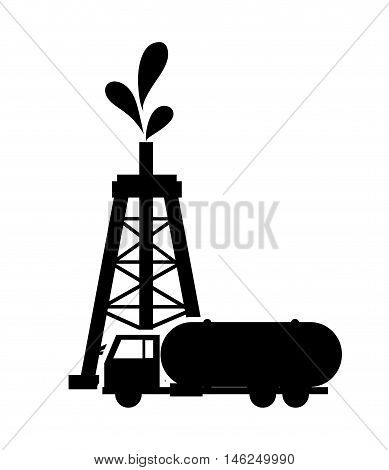 flat design oil rig and fuel tank icon vector illustration