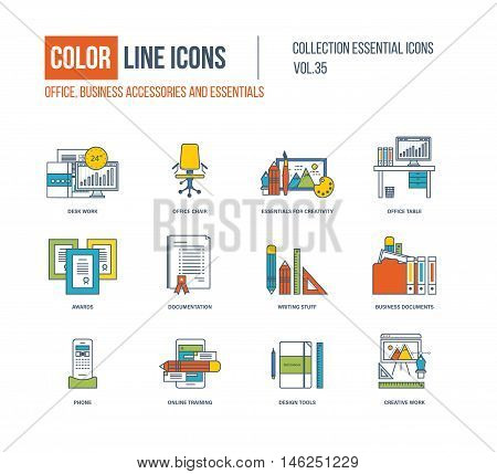 Color Line icons collection. Office, business accessories. Office interior essentials for creative, office table, writing stuff, business documents, online training, design tools, creative work
