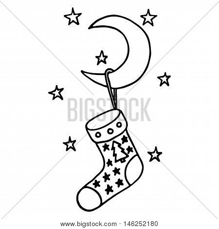 Christmas stocking on the moon. Vector illustration