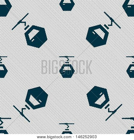 Cableway Cabin Icon Sign. Seamless Pattern With Geometric Texture. Vector