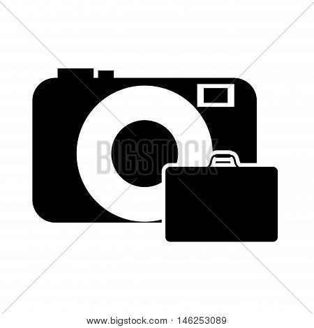 flat design photographic camera and suitcase icon vector illustration