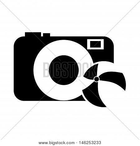flat design photographic camera and beach ball icon vector illustration