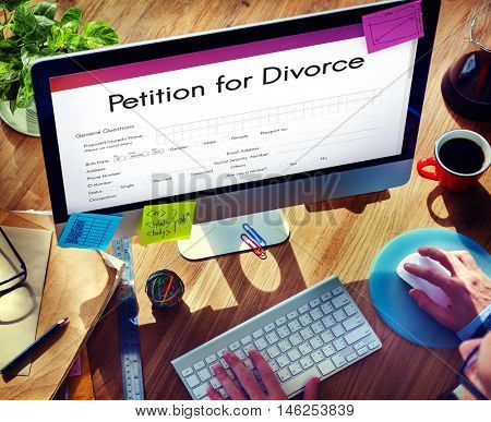 Petition Divorce Arguing Conflict Despair Breakup Concept