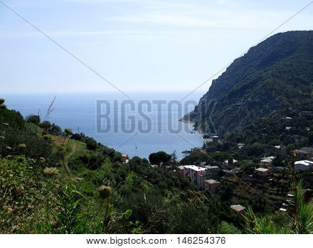 top view of Monterosso by the sea the bay of the 5 lands Liguria Italy