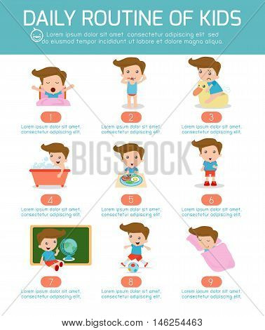 daily routine of happy kids . infographic element. Health and hygiene, daily routines for kids, Vector Illustration.