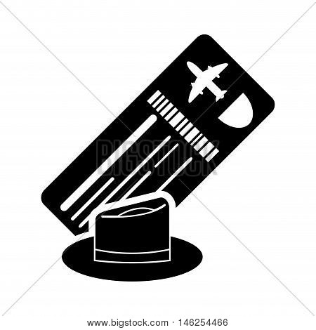 flat design boarding pass or ticket and hat icon vector illustration