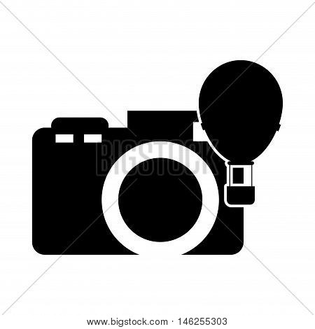 flat design photographic camera and hot air balloon  icon vector illustration