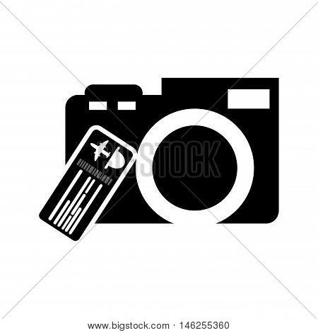 flat design photographic camera and boarding pass icon vector illustration