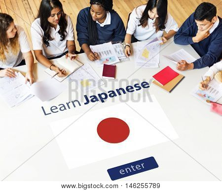 Learn Japanese Language Online Education Concept