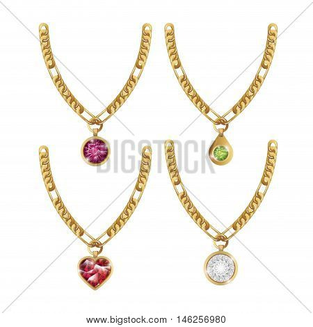 set necklace gems jewelry isolated vector illustration eps 10