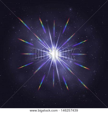 Twinkling cosmic star rainbow glare through lens