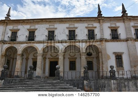 ALCOBACA, PORTUGAL - AUG 24: Monastery of Alcobaca in Portugal, as seen on Aug 24, 2016. In the church are the tombs of Pedro I of Portugal and his murdered mistress Ines de Castro.