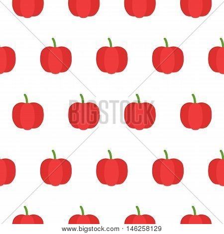 Pepper flat seamless pattern over white. Vector illustration of image of pepper on a white background.