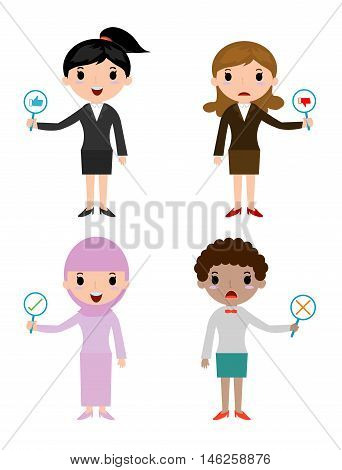 business woman have a plate of sign to answer correct or incorrect, businessman hand thumb up with true and false sign,Vector illustration of positive and negative feedback. Vector Illustration