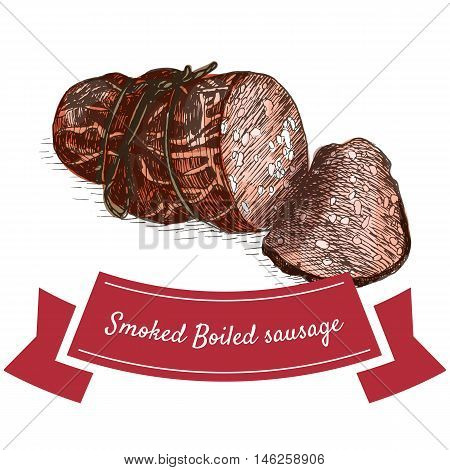 Smoked boiled sausage colorful illustration. Vector illustration of smoked boiled sausage.