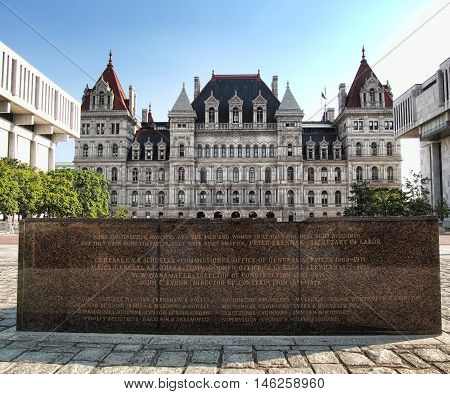 Albany New York USA. September 4 2016. Commemorative stone in front of the New York State Capitol in honor of it's architects and builders