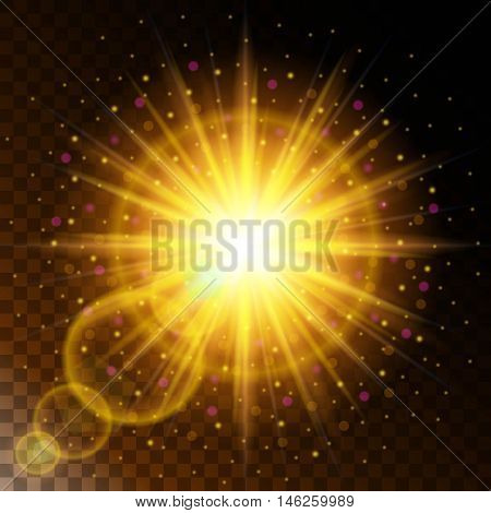 Set of glowing light effect star the sunlight warm yellow glow with sparkles on a transparent background. Vector illustration EPS 10