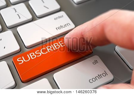 Close Up view of Male Hand Touching Orange Subscribe Computer Key. 3D Illustration.